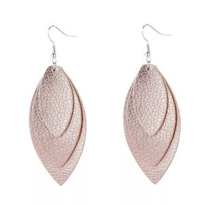 Rose Gold Leather Look Earrings